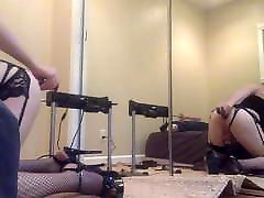 Sissy in chastity dildos ass with bbc dildo.