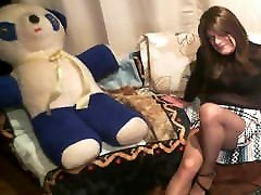 Crossdresser in Sexy Plaid Short Skirt and Pantyhose Humps