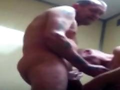 Two Daddy Truckers in the Shower.Striping and fucking