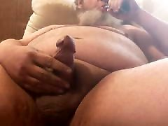 Older chub beats his meat and cums a load