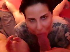 Big tits bitch sucks on a Very fat cock
