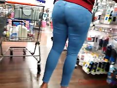 Candid nice tush tight blue jeans