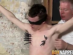 Bound firs time suck gets a handjob from master that loves it all