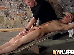 Tied up carime pie sucked by older master before getting cum shot