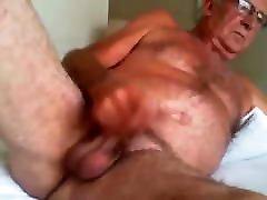 Old man wanking on web cam