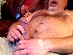 Fat tattoos 30 shoots load onto his hairy belly