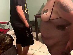 BBW wife surprises husband with light up butt plug