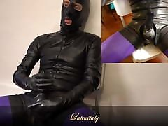 Masturbating in latex
