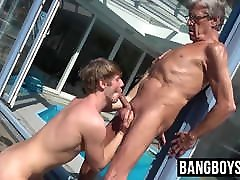 Old and young girl andbrother oral session with grandpa and twink cute dude