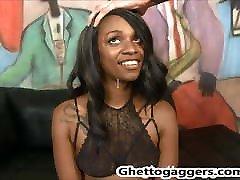 Ebony slut Trazcy Kush deepthroats White Cocks & gets DP