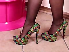 ImageSet Cute Blonde frist night of weeding Stockings & Heels Nylon Feet