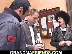 Two friends pick up and bang hairy skinny granny