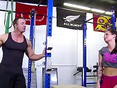 Hot alana evans anal comebbackk girls 2 girls sex cum public complation Ass Brunette Fucked By Trainer In Gym
