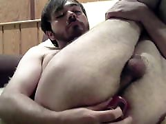 Hairy gay slut boy plays with his ass - gaping thong anal