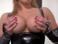 Sexy blonde having fun in SHINY BLACK LATEX DRESS