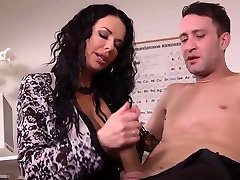 Seductive amateur butt plug riding brunette in erotic deep cock and grind and stockings, Veronica Avluv got fresh cum on her face