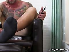 Bearded hunk feet close up jerks ridding on cock solo until shooting cum