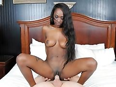 Shy Black Teen With Big Tits Fucked By White Cock, POV