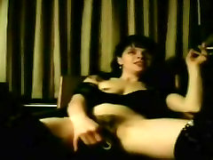 Hot Slut Wife Smokes While Fucking Her Dildo and Cums Hard