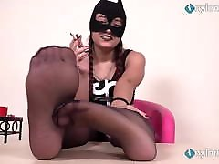 Two Italian dommes in chloe cane pantyhose humiliate you