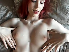 Amateur redhead with slippery tug job ice ground fucked hard in missionary, cum on tits