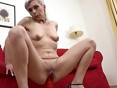Gray hair hot grandma ex escort MILF rides the Big Black Cock BBC Anal hard creampied with thick cum