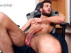 23yo hairy boy strokes his 9,5inch cock and shoots big load