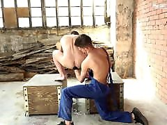 Hot blond slave gets bareback fucked and fisted by twink dom