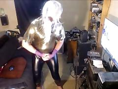 Tranny in gold bodysuit and black latex pants!