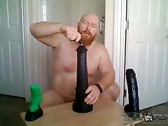 White man loves big dildos