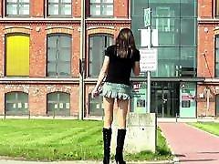 Crossdresser Sissy in public , short skirt and boots