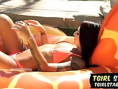 Bikini Tgirl Khloe Kay Gets Cocked!