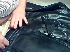 PISS AND CUM ON victoria sweetcake LEATHER BIKER JACKET FUCKING THONGS