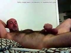 Bearded Bald Daddy Shoots Thick Load On Hairy Belly: HJ-CUM