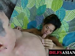Submissive Asian lady 078 breeded by older guy