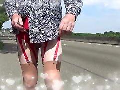 transgender dildo in sounding urethral lingerie outdoor 3