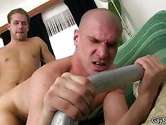 Bald hetero man is fooled into gay doggy-fuck