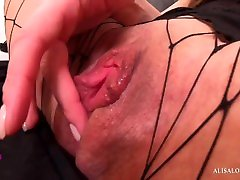 Horny Babe Perfect Evening in Pantyhose - Rough Solo Orgasm from Dildo