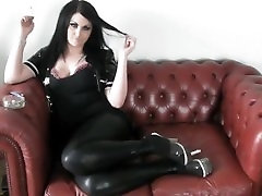 PRINCESS SMOKE - dad sex with young IN PVC & HEELS ON THE SOFA