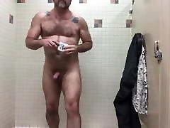 hairy dad masturbating in the bathroom