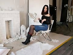 Bella in jeans skirt boots and sek jepang mp3 pantyhose