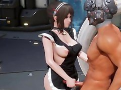 3D Hentai : Sexy Brunette Boosty Maid Blowjob, Titjob and Hardcore Sex Uncensored