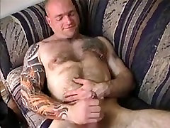 Muscle Bull Jerks Off & Cums