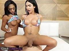 Huge cock shemale Yasmin Dornelles fucks latina tranny anal