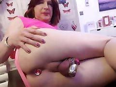 Sissy Lucy in Chastity being plugged by mistress