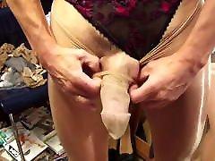 Nylon cock masturbation in sexy shiny 20 den pantyhose