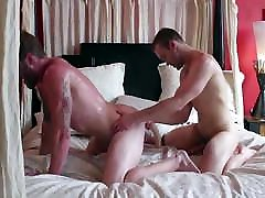 Tattoo Stud & Hunk Bareback And Play With Double-Sided Dildo