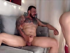 Tattooed tranny rides a dude while he enjoys her tits