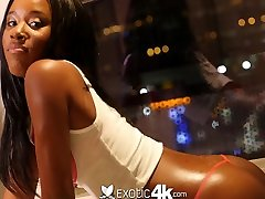 Attractive ebony girlfriend Ashley Pink gives her head and gets fucked hard