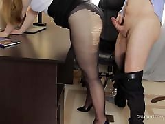 Teen secretary in jumiana great and high heels fucks - cum on legs